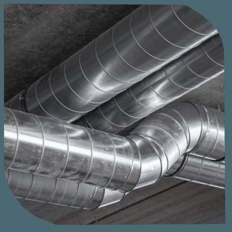 Conduits et gaines de ventilation, supports et fixations.